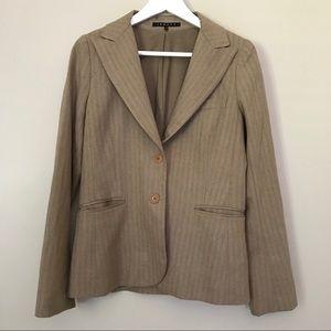 Theory Tan Herringbone Tweed Wool Blazer Jacket